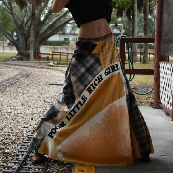 Maxi Skirt/Cover-up Flannel Upcycled Couture
